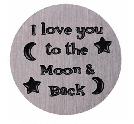 20 pz / lotto piatti della finestra galleggiante in acciaio inossidabile timbrato ti amo alla luna indietro misura medaglione magnetico in vetro da 30 mm