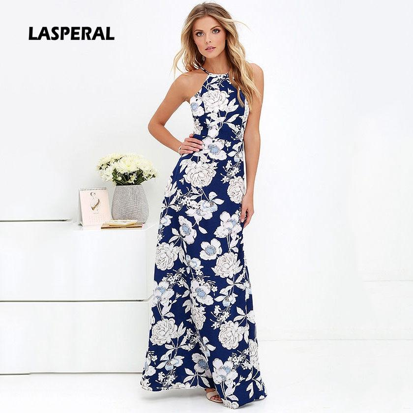 c780db91a784 Acquista All ingrosso LASPERAL Womens Summer Maxi Dresses Nuovo Arrivo  Ladies Boho Dress Senza Maniche Blu Halter Neck Floral Print Vintage Long  Dress A ...