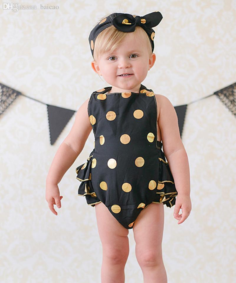 2b25380b1 2019 Wholesale Black Gold Polka Dot Halter Romper, Baby Bubble Romper,  Girls Sun Suit With Matching Headband From Baicao, $126.8 | DHgate.Com