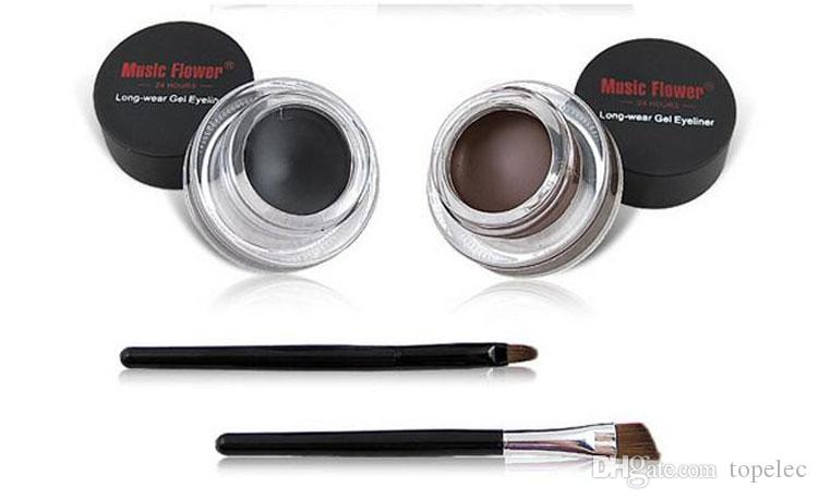 Music Flower Black + Brown Two-color Gel Eyeliner Smudge- Proof & Water Proof Eye Liner Eye Liner Eyeliner Gel Makeup Cosmetic + Brush free