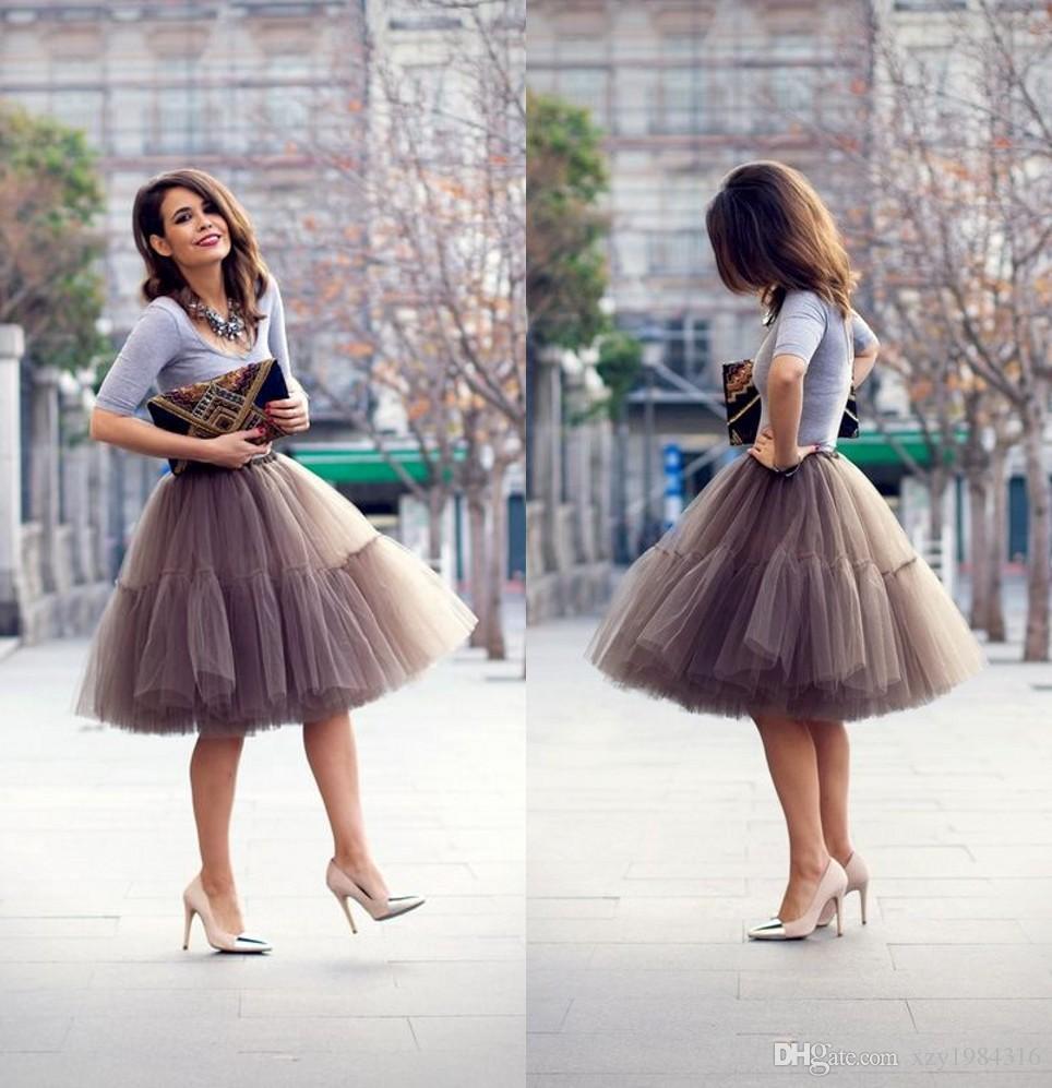 2015 جديد وصول لينة الشاش أنيق منتفخ تول تنورة للنساء متعددة الطبقات مخصص الكشكشة رمادي قصير عارضة فساتين