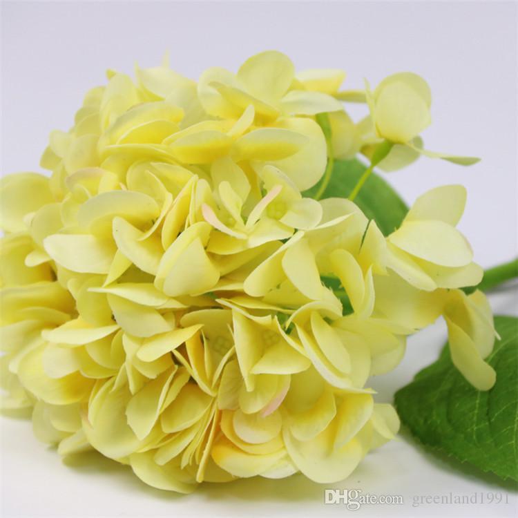 Gerçek dokunmatik yapay ortanca çiçek için yeni tasarım 5 renkler ortanca düğün dekorasyon ucuz yüksek kalite
