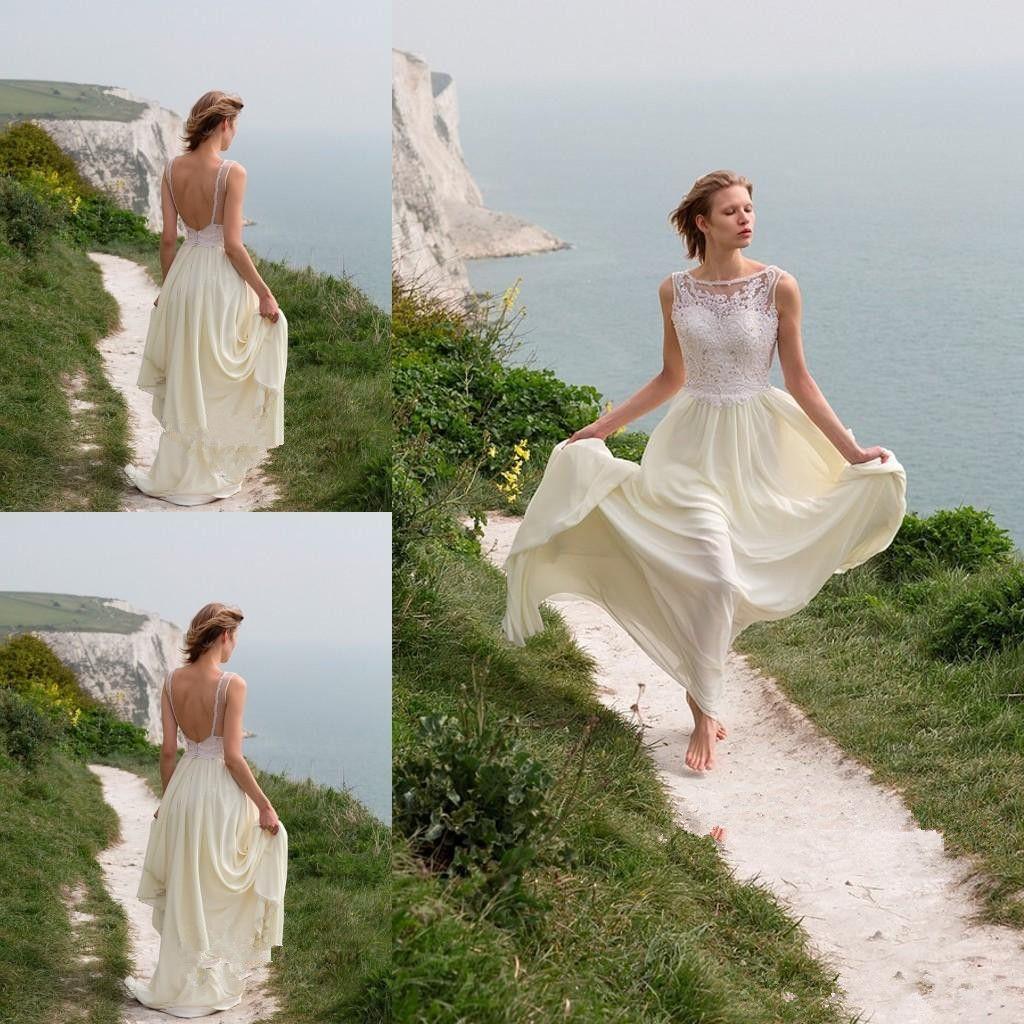 Hot Selling Casual Beach Wedding Dresses Backless Jewel