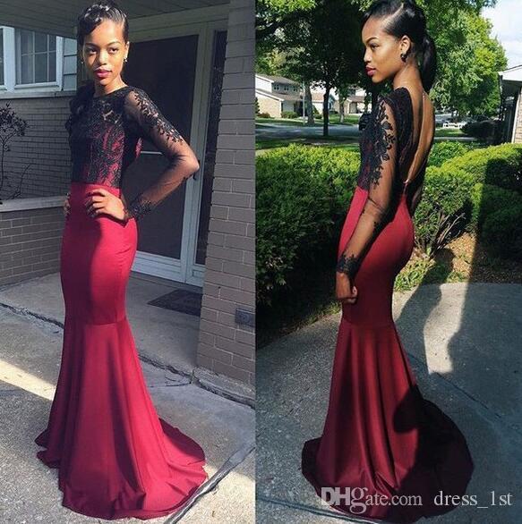 2017 Black Lace Backless Illusion Langarm Memaid Abendkleider Sexy Dark Red Satin Lange Abendkleider Party Abend Benutzerdefinierte EN111014
