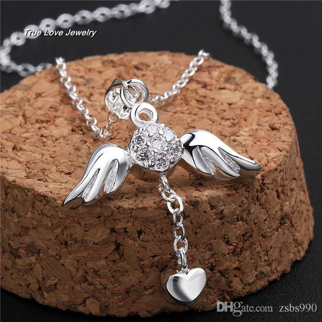 N674 nuova bella design 925 sterling silver angelo ali cuore collana pendente con zircone moda gioielli regali di nozze spedizione gratuita