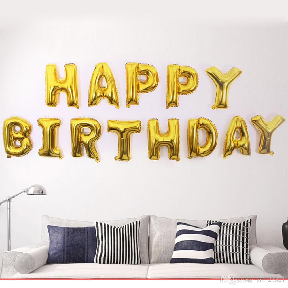 Aluminum Foil Shining Gold Happy Birthday Balloons Thirteen Letters ...