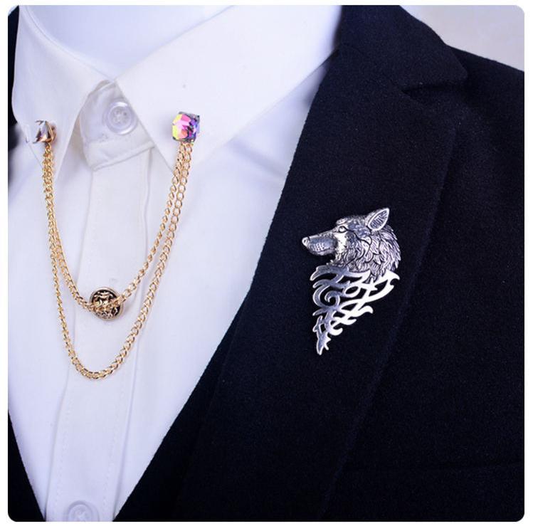 موضة جديدة ريترو الذهب معدن الفضة وولف بروش دبوس مجوهرات للرجال