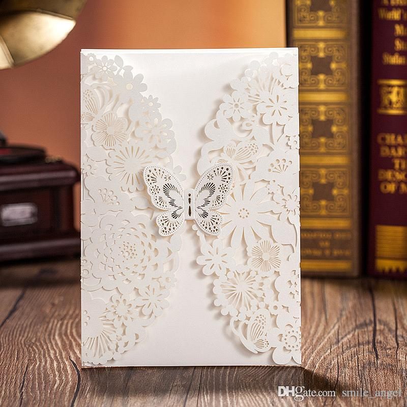 New Hot Selling White Lace Wedding Invitations Card Gold Lace – Butterfly Wedding Invite