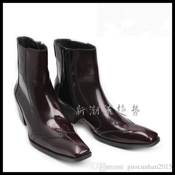 Nuevo diseño de moda Botas populares de cuero genuino de los hombres Botas concisas medias botas coreano exterior zapatos hombre tacón grueso vino rojo charol