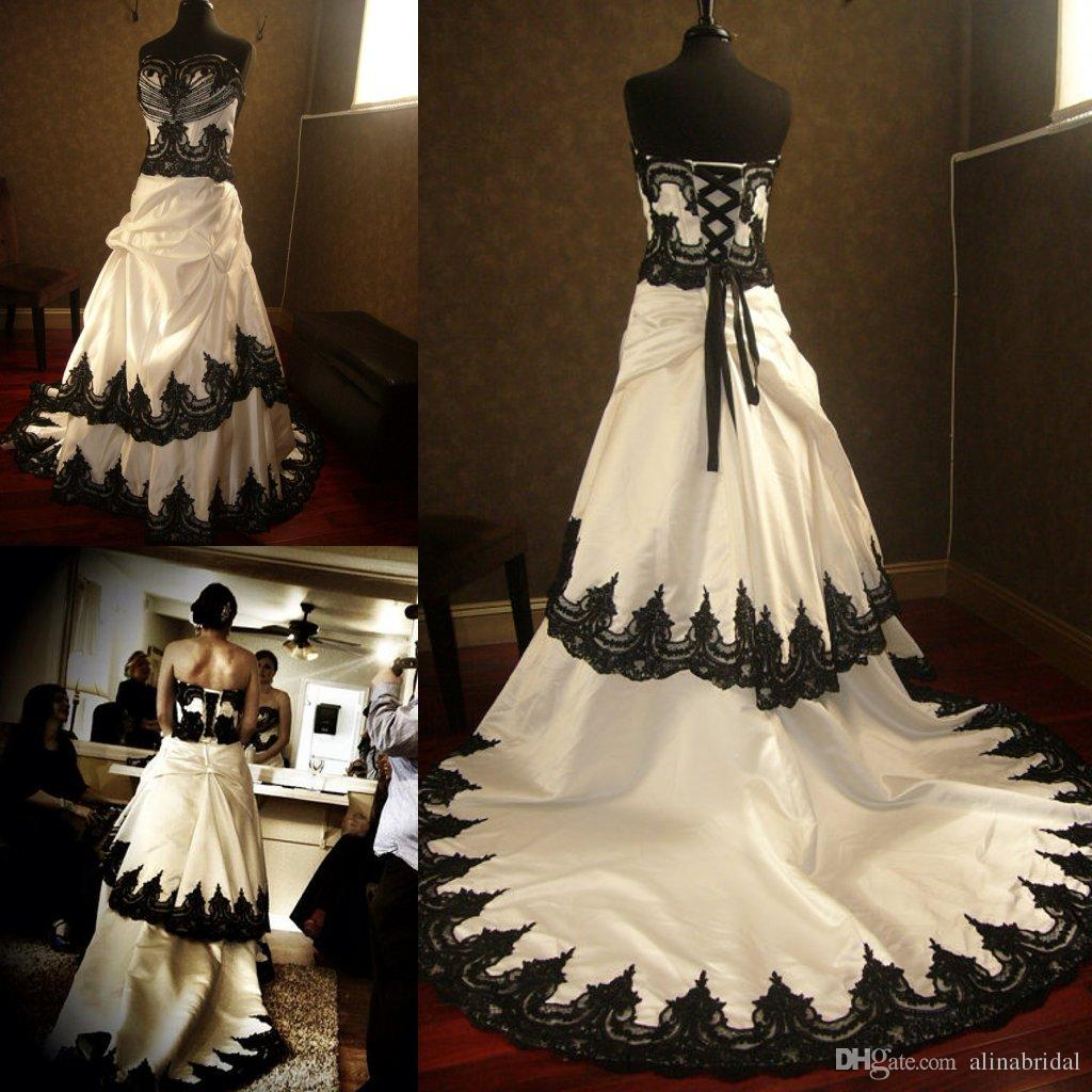 Discount Stunning Gothic Black And White Wedding Dresses 2018 Lace Appliques Cascading Court Train Taffeta Steunk Halloween Bridal Gowns: Wedding Dresses Steunk Clothing At Websimilar.org