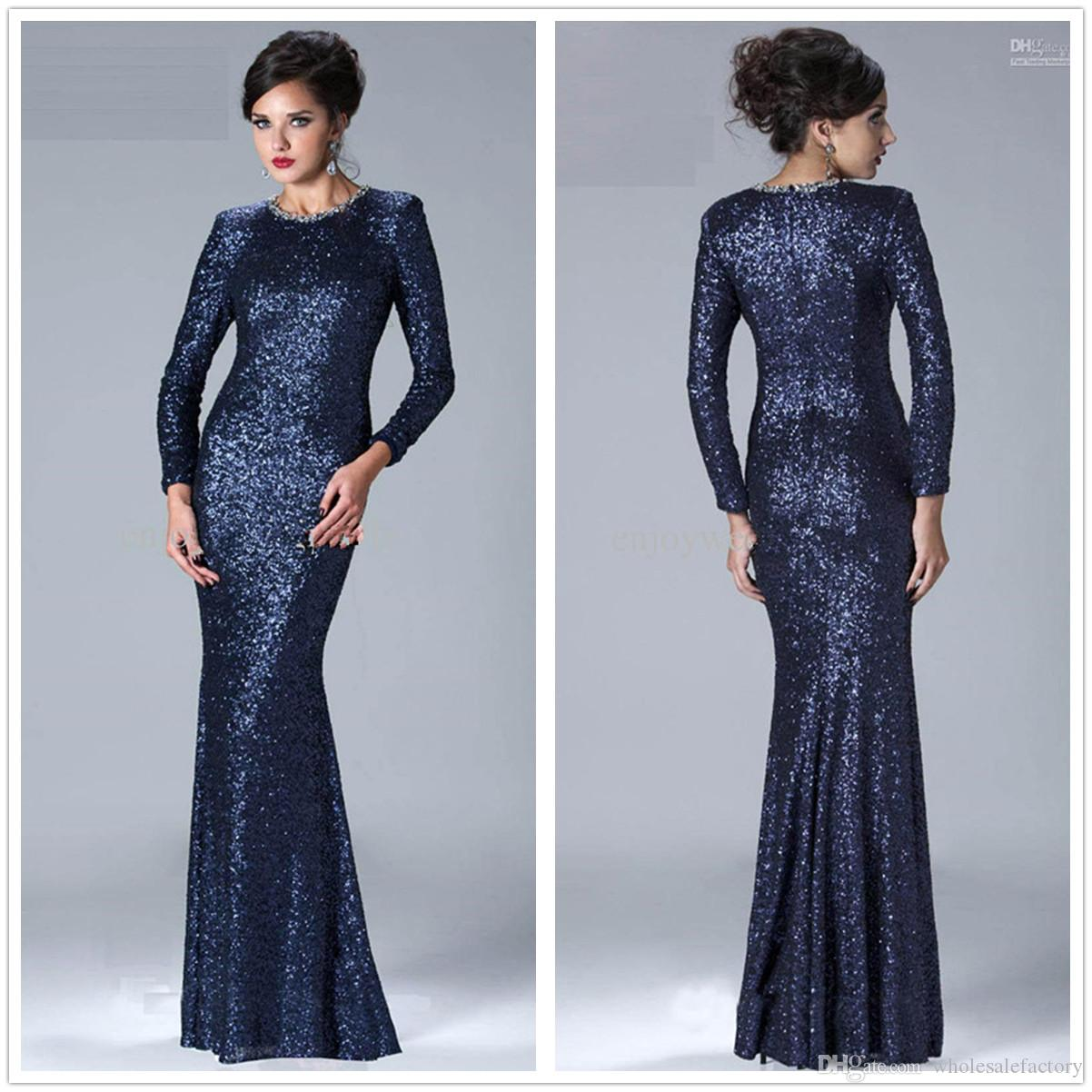 Navy Blue Long Sleeves Sequined Mermaid Long Evening Dresses ...