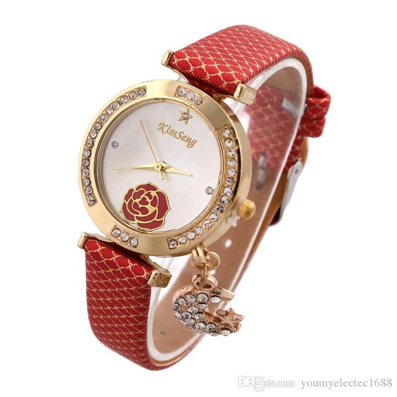 Newest Moon Star Pendant Watches Analog Women Peony Flower Dress Watch Quartz Thin Moon Pendant Wristwatch Kimseng women Rhinestone watch