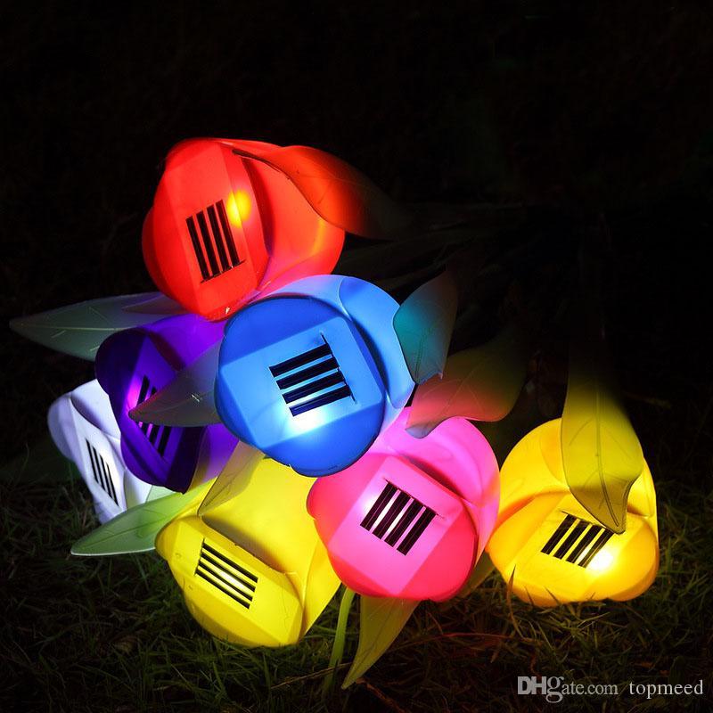 Lumières de Noël LED lampes solaires Tulip Lampes extérieures Lampes solaires Jardin Jardin Chemin Voie Énergie solaire LED Lumière Tulipe Paysage Fleur