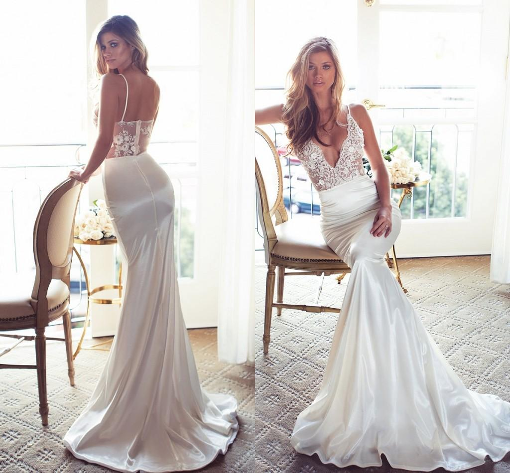 8bc958fe8a Vintage 2017 Cheap Simply Mermaid Wedding Dresses Spaghetti V Neck Lace  Backless Wedding Gown Sweep Train Bridal Dress Unique Wedding Gowns Wedding  Dress ...
