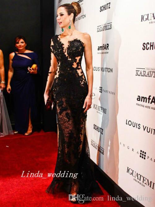 Frete grátis cor preta coluna bainha de um ombro mangas compridas pura apliques de assoalho-comprimento vestido de noite vestido de celebridades