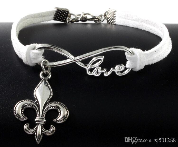 10 pezzi d'argento d'epoca amore infinity fleur de lis charms braccialetto braccialetto le donne di colore misto braccialetto corda velluto gioielli regali accessori