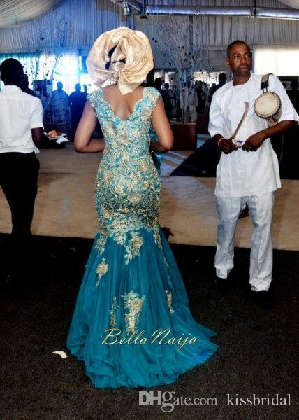 African Traditional Wedding Dresses Turquoise Blue V-neck Gold Appliques Tulle Sweep Train Nigeria Bridal Gowns dress gown