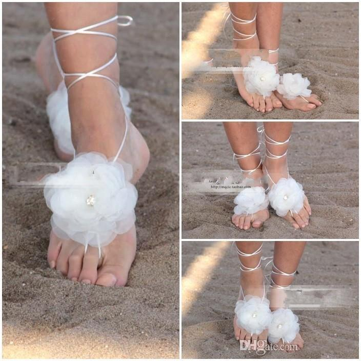 2015 Free Tied Flower Bride Accessories White Barefoot Anklets For