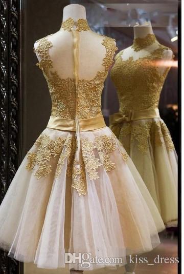 2019 wysokiej szyi suknie ślubne bez rękawów łuk sash ruffles aplikacja A-line szampana koronki vintage krótkie suknie ślubne gorące sprzedaż zamówienia