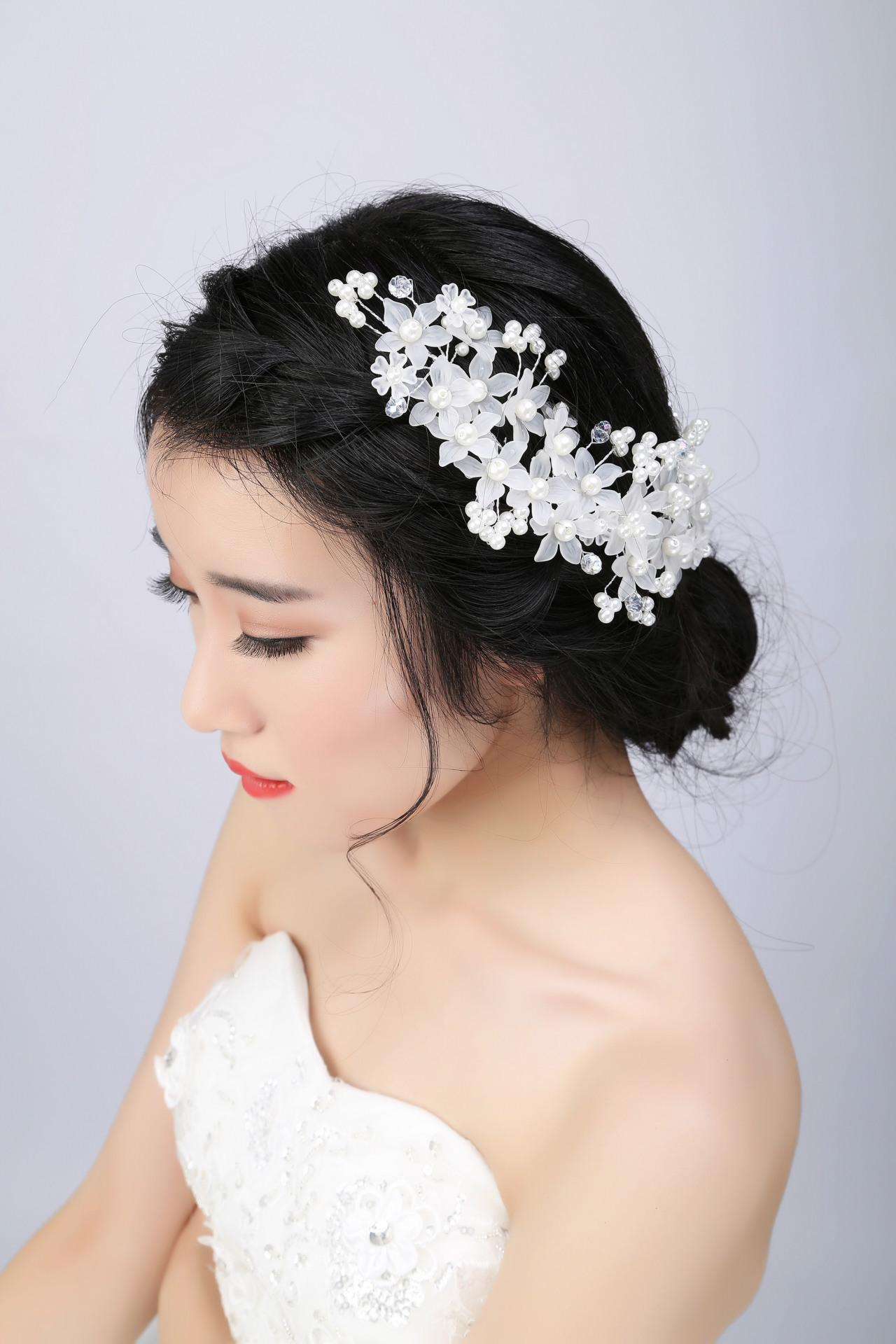 2016 bride tiaras hair accessories with peals blossom hair vine