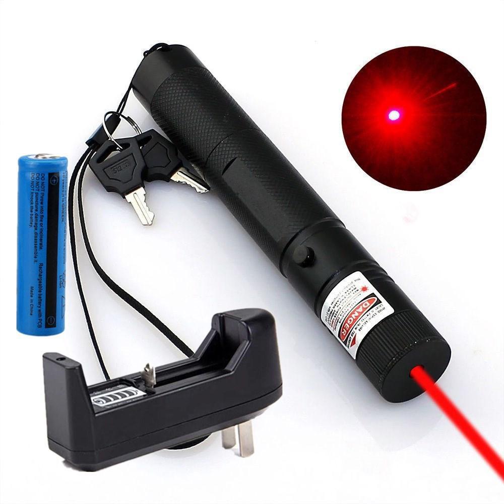 높은 전원 빨간색 레이저 포인터 펜 10 마일 5wm 650nm 군사 강력한 빨간색 레이저 고양이 장난감 +18650 배터리 + 충전기