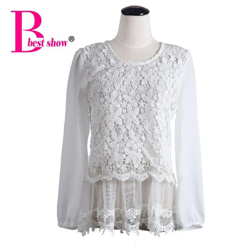 2018 Ladies Long Sleeve Lace Blouse Spring Crochet Lace Floral