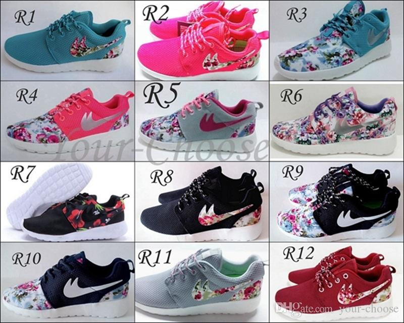 4fd234bcfe8c 2015 New Roshe Run Floral Flower Women And Men Running Shoes Fashion  Athletic Casual Sports Shoes Blue Green Black Red Pink Mesh Free Run Shoe  36-45