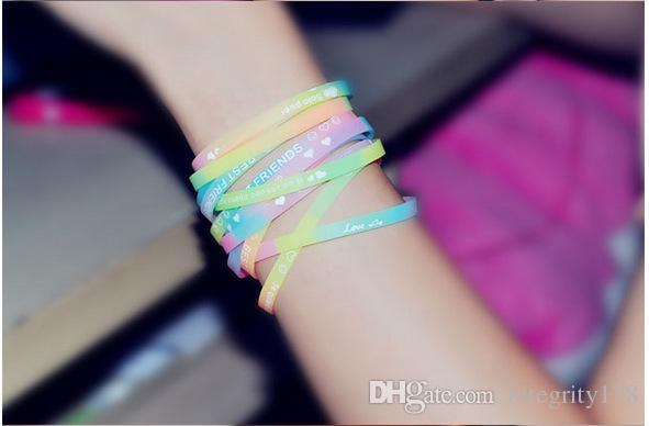 сумасшедший продажа силиконовый браслет, световой спортивный браслет, флуоресцентный цветной браслет, женский многоцветный браслет, DHL бесплатная доставка