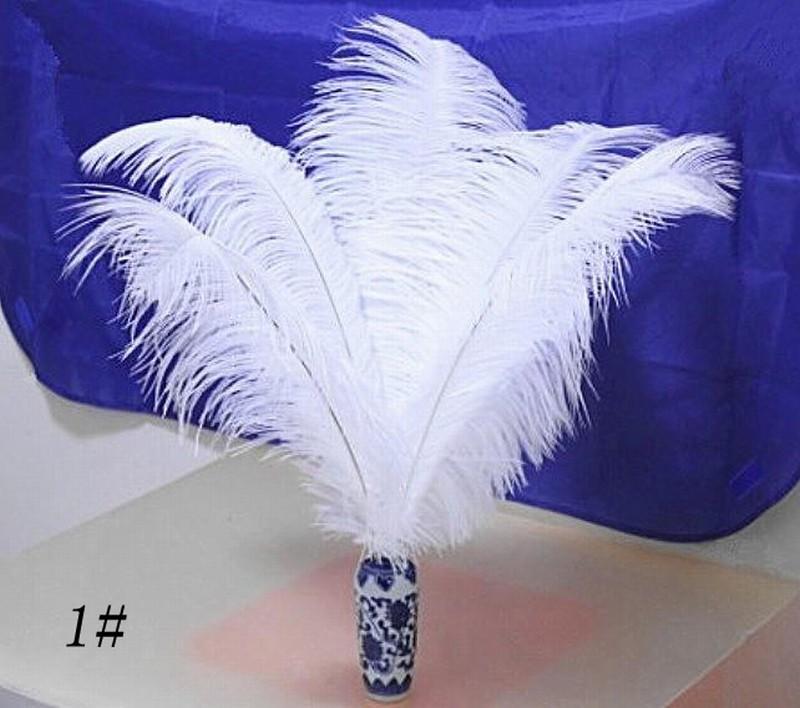 Tingido Penas De Avestruz Preto Branco Plumas Macias Penas de Avestruz Guarnição Boa Festa de Casamento Palco Casa Decoração de Natal DIY Pena 8-10