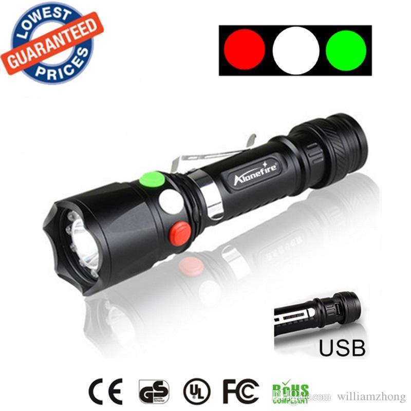 ALONEFIRE RX3-RWG USB-Netzteil CREE XPE Q5 LED Rot Weiß Grün Bahnwartungspersonal Signallampe Taschenlampe