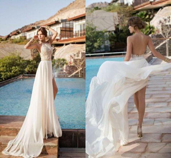 Discount Hot Sale Julie Vino Beach Wedding Dresses Sexy Halter Sleeveless Backless Appliques Beading High Split Side Chiffon Bridal Gowns Simple