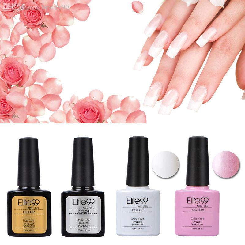 Elite99 Nail Polish Pink White French Manicure And Top Base Coating ...
