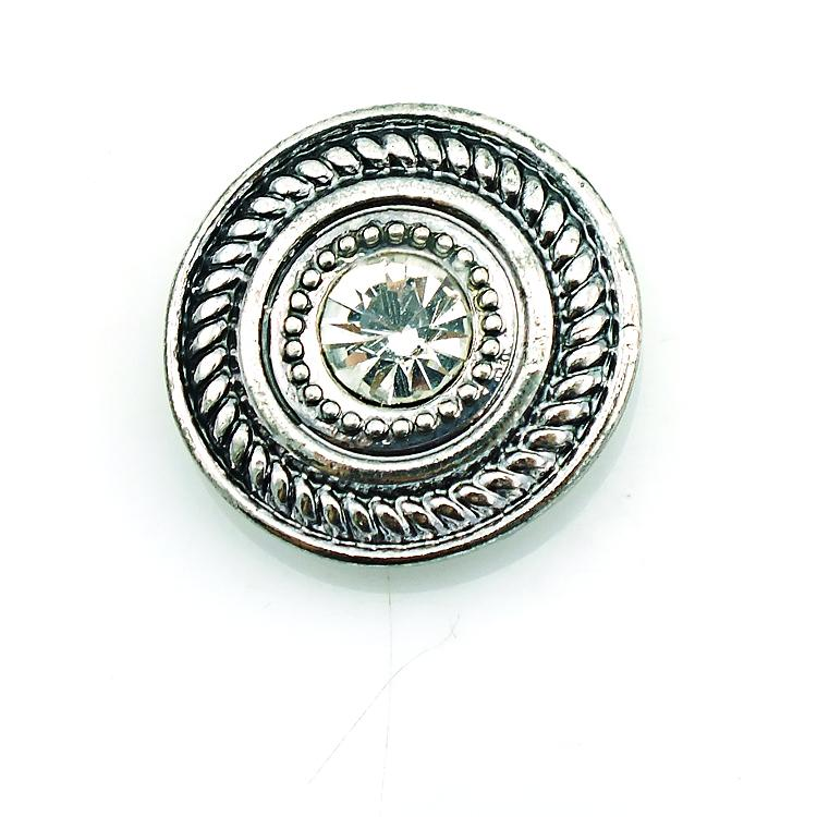 High Quantity Snap Button Alloy Rhinestone 18mm Metal Clasp Button DIY Interchangeable Jewelry Accessories
