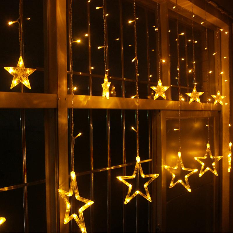 2018 white yellow blue led lights the stars lantern mall for Window lights