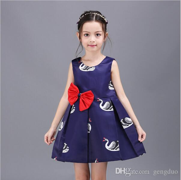 518298fe10c 2018 Wholesale Retail White Swan Girls Summer Dress With Red Bow Princess  Pleated Dresses Girls Clothes Children Sundress Girls Spring Clothing From  Gengduo ...