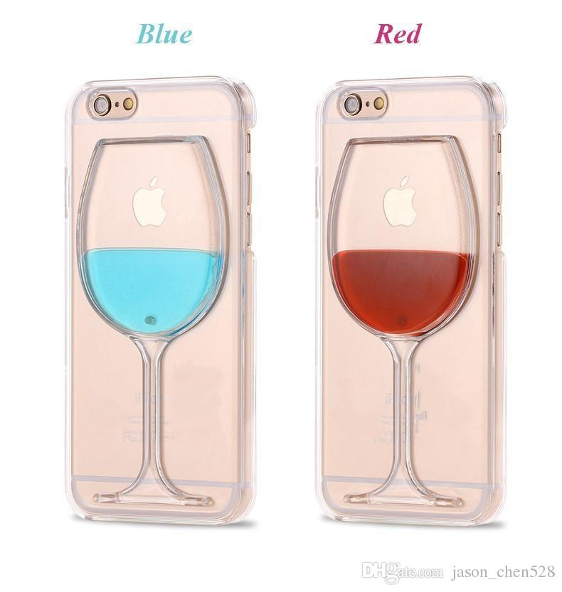 wine glass Phone Case for iPhone 6s 6 6Plus 5s Liquid Quicksand Red Wine Cocktail Glass Beer Mug Bottle Transparent Back Cover