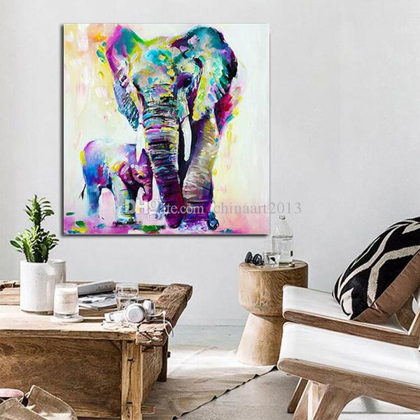 HD Printed Animal Painting Abstract Elephant Oil Painting Wall Art Picture Modern Fashion Home Decoration Wholesale