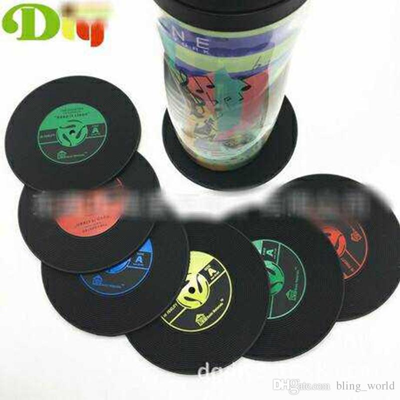 Retro Vinilo CD Record Posavasos Posavasos Home Table Cup Mat Decoración Creativa Coffee Drink Placemat Spinning Insulation Soft Coaster LDH32