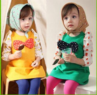 The cheapest ! !Children Dress Girls Dot Big Bow Dress Long-sleeved Dress Yellow Green