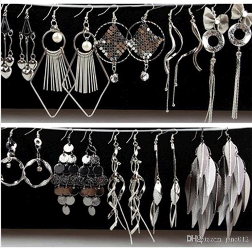 Joyería de plata Multistyle Muchos diseños geométrica borla larga cuelga los pendientes de gota Venta al por mayor gancho de oreja aro para mujer orden mezclada Envío gratis