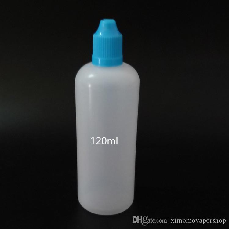 ملون 120ML الطفل والدليل على زجاجة فارغة 120 مل زجاجات السائل القطارة البلاستيكية مع نصائح رقيقة طويلة