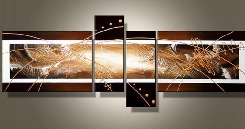 Handpainted Modern Abstract Golden Line Oil Painting on Canvas Mural Art Drawing for Home Living Hotel Office Wall Decor