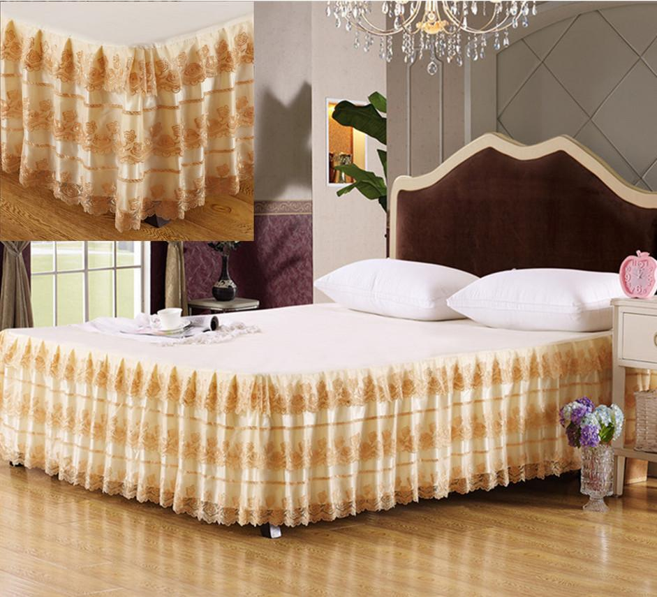 Hot New Luxury Gold Embroidered Lace Bed Skirt Rose Floral
