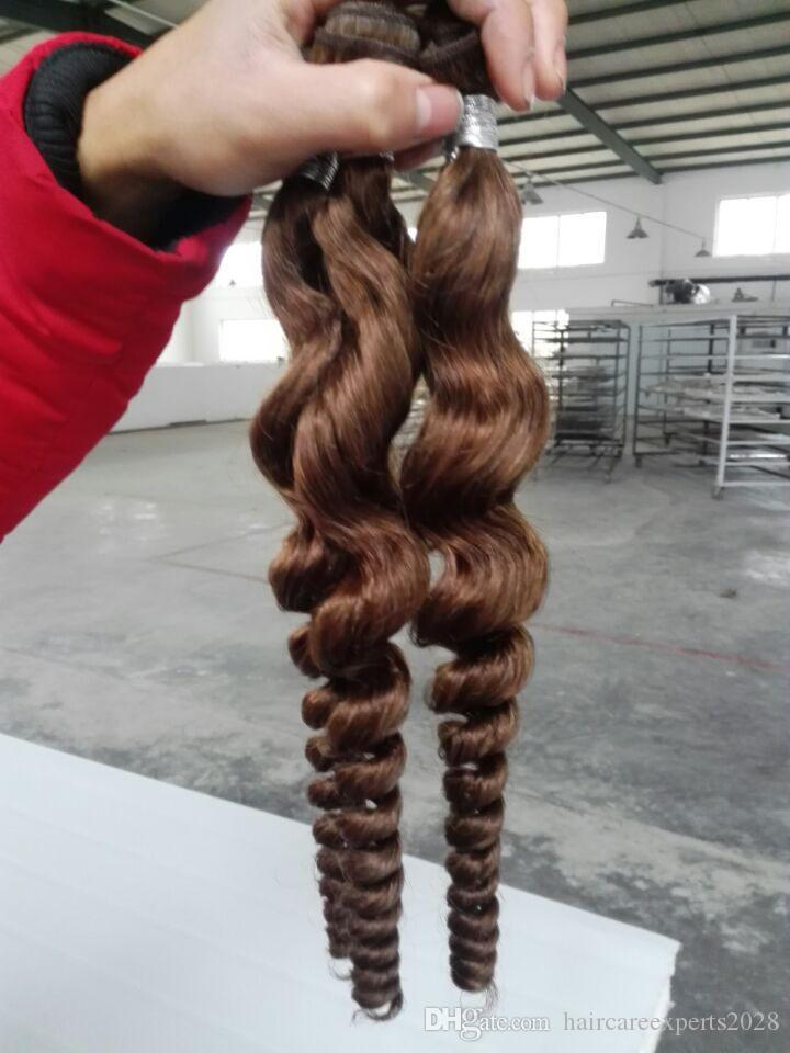 Peruvian Brazilian Hair Weaves Extensions Malaysian Indian Virgin Hair 50g/pcs loose Wave 6# light brown Unprocessed Best Quality
