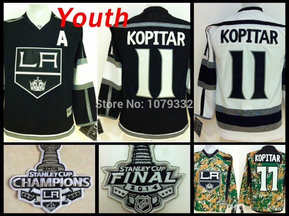 2014 Stanley Cup Youth LA Kings Jerseys  11 Anze Kopitar Jersey Kids Los  Angeles Kings Home Black Road White ICE Hockey A Patch UK 2019 From  Probowl 8894a156a