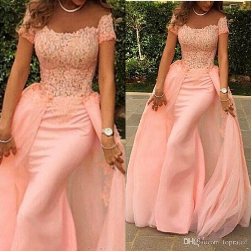 2019 Blush Pink Elegant Mermaid Formal Evening Dresses Off the Shoulder Lace Short Sleeves Party Gowns Floor Length Detachable Prom Dresses