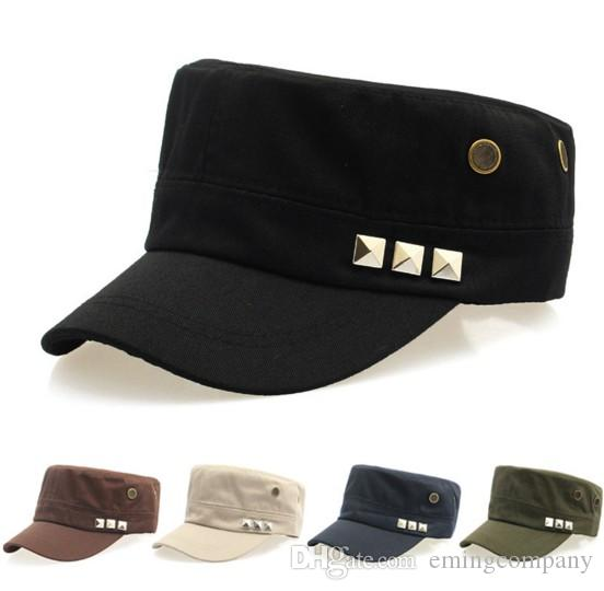 Designer Cotton Military Cap For Adults Mens Womens Army Hats Summer Man  Sports Sun Visor Coffee Navy Blue Beige Black Green Color Sale Flat Caps  For Men ... 99a48f4b2c