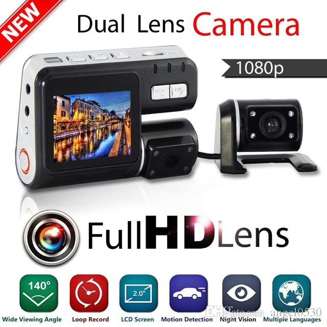 Dual Lens Camcorder i1000 Auto Car DVR Dual Camera HD 1080P Dash Cam Black Box Driving Recorder With Parking Rear lens Cameras