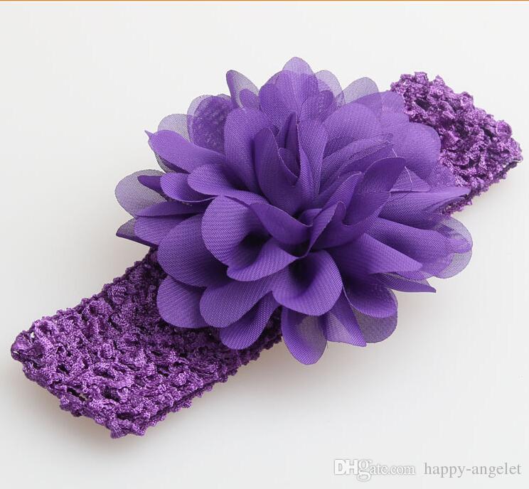 50 st Baby Headwear Head Flower Hair Tillbehör 4 tums chiffongblomma med mjuka elastiska virkade huvudband Stretchy Hair Band GZ7409
