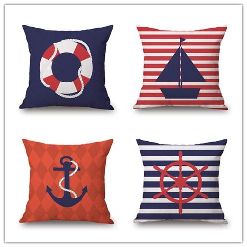 Boat Anchor Blue And Red Sofa Cushion Covers Sea Sailing Pillow Cover Pillow  Case Wedding Decoration Boys And Girls Gift Bedroom Decor Cushions For  Wicker ...